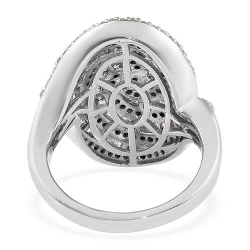 Diamond (Rnd and Bgt) Ring in Platinum Overlay Sterling Silver 1.25 Ct, Silver wt 6.00 Gms, Number of Diamond 235