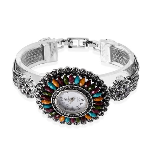 STRADA Japanese Movement Water Resistant Watch with Studded Grey Austrain Crystal, Multi Colour Stone and Antique Silver Alloy Strap in Silver Plated.
