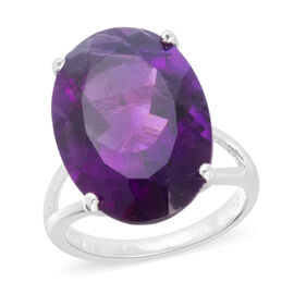 Rare Size AAA Lusaka Amethyst (Ovl 18x13 mm) Ring in Rhodium Overlay Sterling Silver 11.500 Ct.