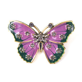 Grey Austrian Crystal Enamelled Butterfly Brooch in Gold Tone