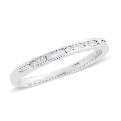 9K W Gold SGL Certified Diamond (Bgt) (I3/G-H) Half Eternity Ring 0.250 Ct.