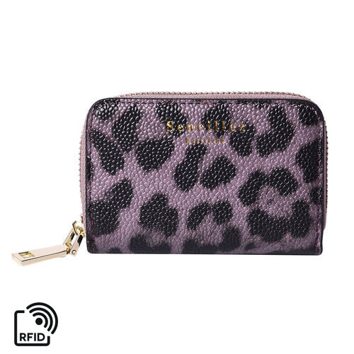 Sencillez 100% Genuine Leather RFID Protected Leopard Pattern 11 Slots Card Holder Wallet (Size 12x2