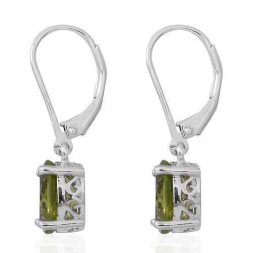 Super Auction-Hebei Peridot (Ovl) Lever Back Earrings in Rhodium Overlay Sterling Silver 4.00 Ct.