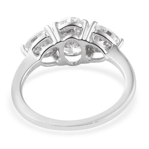 J Francis - 9K White Gold (Ovl) Trilogy Ring Made with SWAROVSKI ZIRCONIA