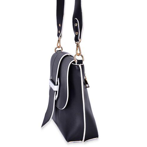 Black Colour Crossbody Bag with Removable Shoulder Strap (Size 24.5X21X8 Cm)