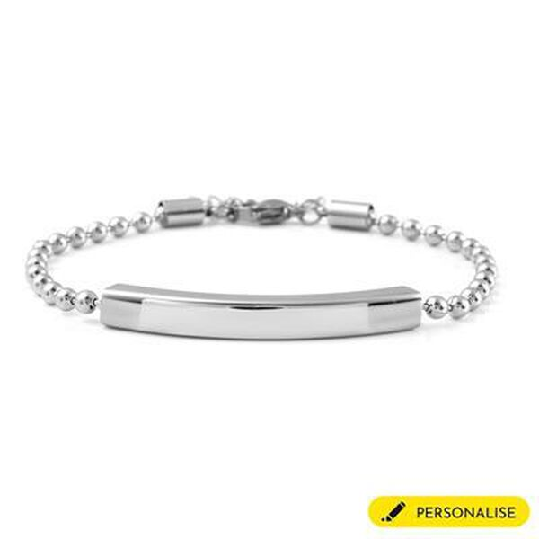 Personalised Engravable Bar ID Bracelet, Size 7 Inch in Silver tone