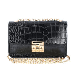 Black Croc Pattern Two Way Waist Bag with Chain Strap (Size 16.5x11 Cm)