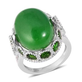 21.55 Ct Green Jade and Multi Gemstone Halo Ring in Rhodium Plated Sterling Silver 8.12 Grams