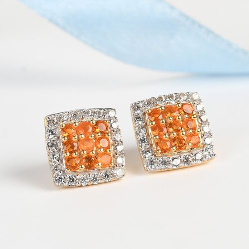 Jalisco Fire Opal and Natural Cambodian Zircon Stud Earrings (with Push  Back) in 14K Gold Overlay Sterling Silver 1.32 Ct.