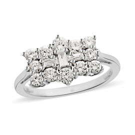 ILIANA 18K White Gold IGI Certified Diamond (Rnd) (SI/G-H) Boat Ring 1.000 Ct.
