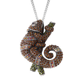 Multi Colour Austrian Crystal Chameleon Brooch or Pendant With Chain in Silver Plated 24 Inch