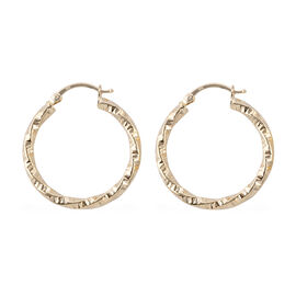 Royal Bali Collection Hoop Earrings with Clasp Lock in 9K Gold 3.36 Grams