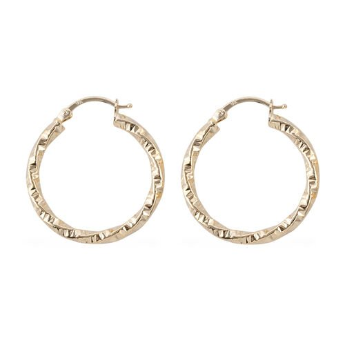 Royal Bali Collection 9K Yellow Gold Hoop Earrings (with Clasp Lock).Gold Wt 3.36 Gms
