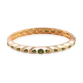 Designer Russian Diopside Enamelled Bangle (Size 7.5) in 14K Gold Overlay Sterling Silver wt 26.70 G