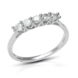 9K White Gold SGL Certified Diamond (Rnd) (I3/G-H) 5 Stone Ring 0.500 Ct.