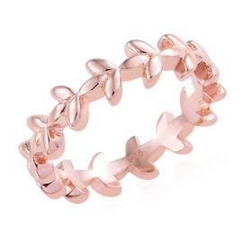 Rose Gold Overlay Sterling Silver Leaf Ring