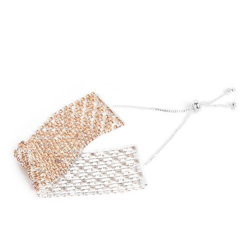Champagne Austrian Crystal (Rnd) Bracelet (Size 6) in Silver Tone