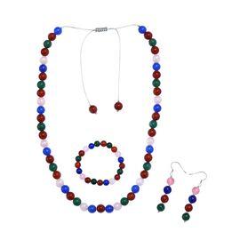 3 Piece Set - Multi Colour Agate Necklace (Size 20 - 28 Adjustable), Bracelet (Size 7.50 Stretchable