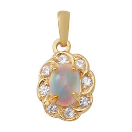 Ethiopian Welo Opal and Natural Cambodian Zircon Floral Pendant in Yellow Gold Overlay Sterling Silv