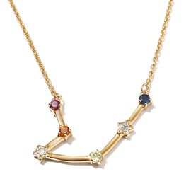 Diamond and Multi Gemstones Necklace ( Size 20) in 14K Gold Overlay Sterling Silver, Sliver Wt. 5.2