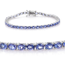 9K White Gold AA Tanzanite (Ovl) Tennis Bracelet (Size 7) 7.000 Ct, Gold wt 8.07 Gms.