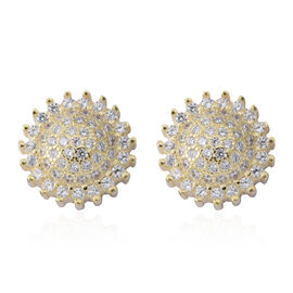 ELANZA Simulated White Diamond (Rnd) Stud Earrings (with Push Back) in 14K Gold Overlay Sterling Silver