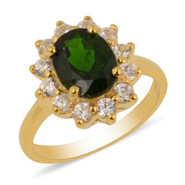 Rare Size Russian Diopside (OV 9X7 mm) and Natural Cambodian Zircon Ring in Yellow Gold Overlay Ster
