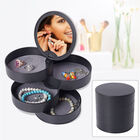 360 Degree Rotatable Round Shape 4 Layer Jewellery Organiser with Mirror (Size 12x12cm) - Black
