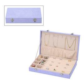 Velvet Jewelry box with lock top 8 hooks pocket base left 8 sections10 Ring Rows Inside Anti Tarnish lining - Black