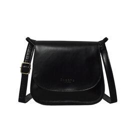 ASSOTS LONDON Nicola Genuine Smooth Leather Fully Lined Saddle Bag - Black