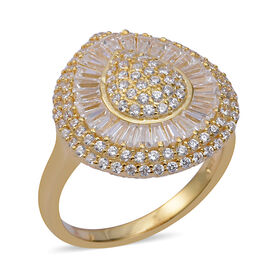 ELANZA Simulated Diamond Cluster Ring in Gold Plated Sterling Silver 5.28 Grams