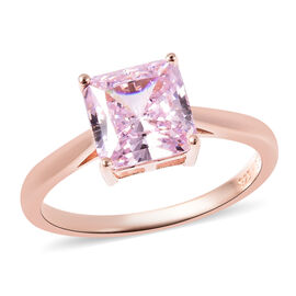 Lustro Stella Simulated Pink Sapphire Solitaire Ring in Rose Gold Overlay Sterling Silver