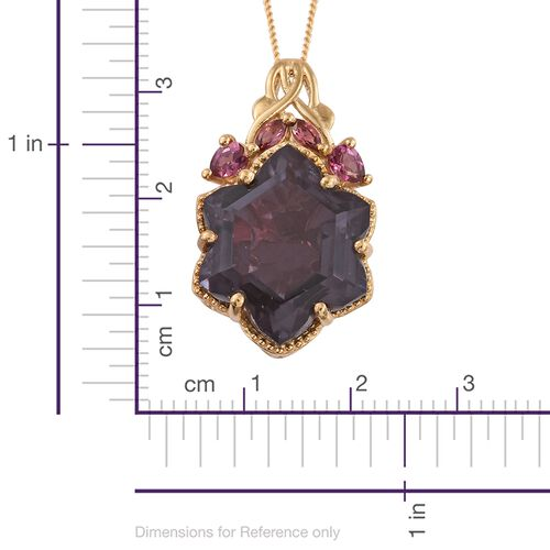 Colour Change Alexandria Quartz and Rhodolite Garnet Pendant with Chain in 14K Gold Overlay Sterling Silver 16.250 Ct.