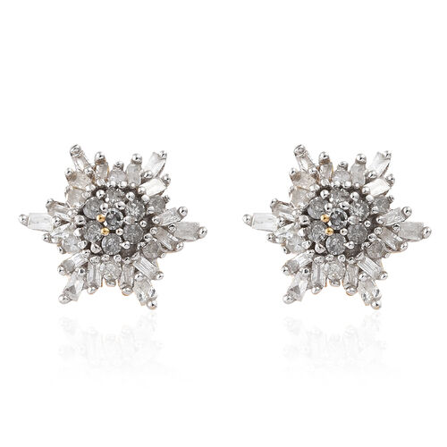 Diamond (Rnd and Bgt) Earrings in 14K Gold Overlay Sterling Silver 0.251 Ct.