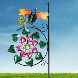 Garden Theme Dragonfly Pattern Wind Spinner with Solar Light (Size 28x7x117cm) - Blue, Yellow and Mu