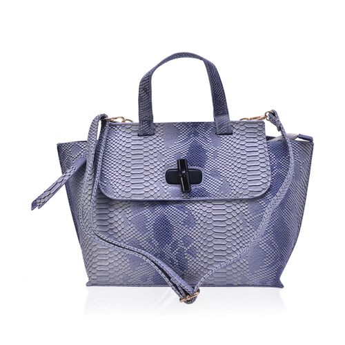 Bamboo Collection Blue and Grey Colour Snake Embossed Tote Bag with External Zipper Pocket and Adjustable and Removable Shoulder Strap (Size 42x27x12 Cm)