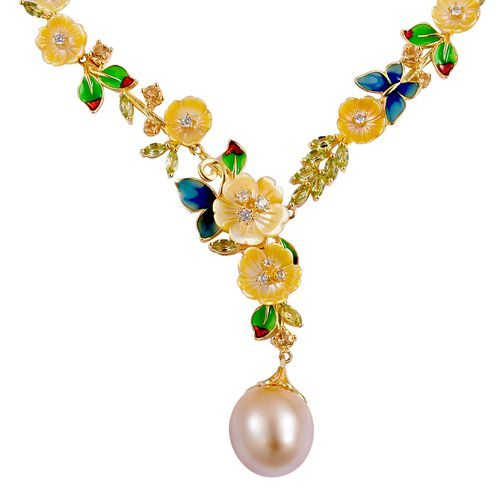 Jardin Collection- South Sea Golden Pearl (Rnd 12-13mm), Hand Carved Yellow Mother of Pearl and Multi Gemstone Necklace (Size 17 with 3 inchExtender) in Yellow Gold Overlay Sterling Silver 31.950 Ct.