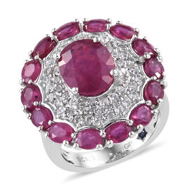 GP African Ruby (Ovl 6.78 Ct),Natural White Cambodian Zircon and Kanchanaburi Blue Sapphire Ring in Platinum Overlay Sterling Silver 8.000 Ct, Silver wt 6.07 Gms.