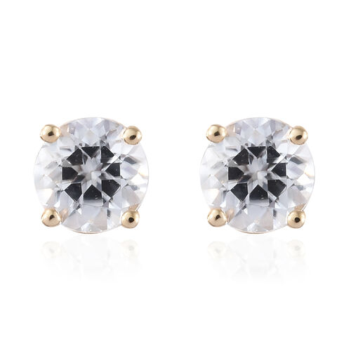 9K Yellow Gold AA Natural White Cambodian Zircon (Rnd) Stud Earrings (with Push Back) 1.50 Ct