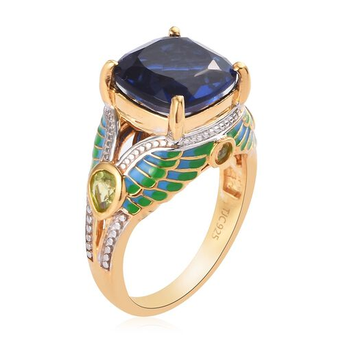GP Ceylon Quartz, Hebei Peridot and Blue Sapphire Enamelled Ring in 14K Gold Overlay Sterling Silver 4.75 Ct.