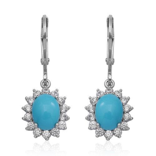 Arizona Sleeping Beauty Turquoise and Natural Cambodian Zircon Lever Back Earrings in Rhodium Overla