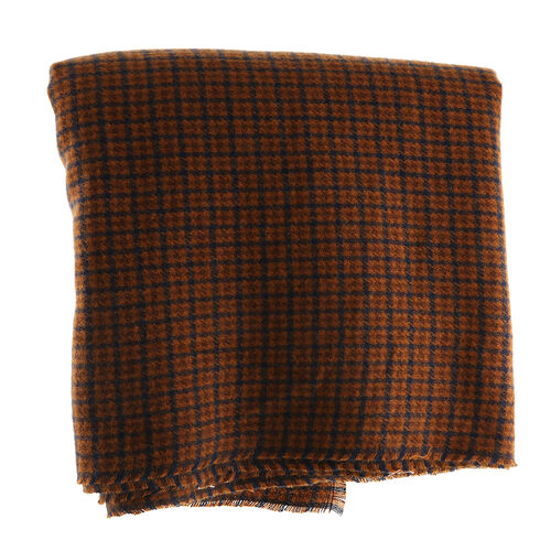 Winter Christmas Special- Designer Inspired Checkers Scarf (Size 195x88cm)- Brown and Blue
