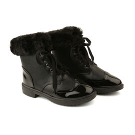 Warm Faux Fur Ankle Boots - Black