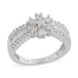 14K White Gold Natural White Diamond Ring 0.78 ct, Gold Wt. 4.40 Gms