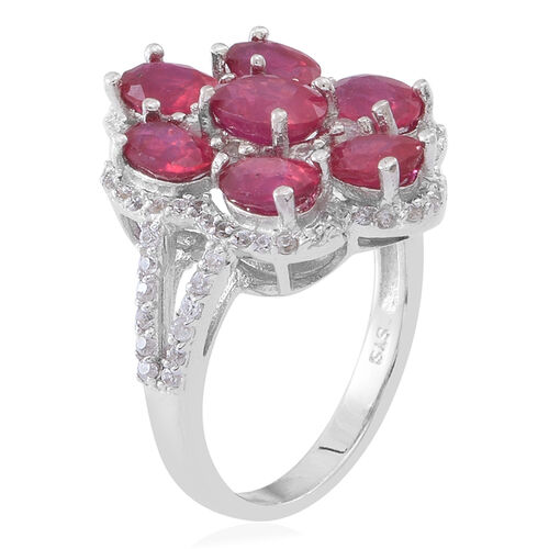 African Ruby (Ovl 1.10 Ct), White Zircon Ring in Rhodium Plated Sterling Silver 6.000 Ct.