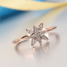 Diamond Starburst Ring in Rose Gold Overlay Sterling Silver