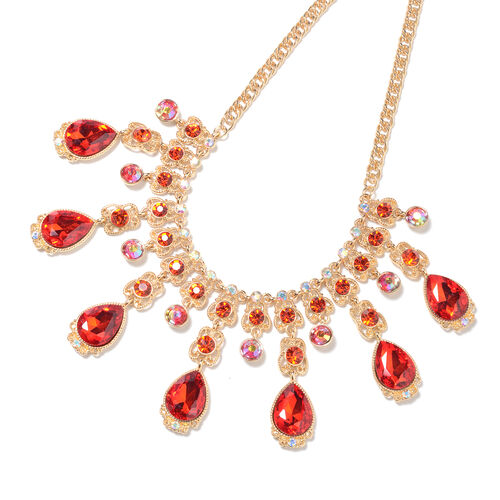 Simulated Ruby, Red Austrian Crystal and Simulated Mystic White Crystal Necklace (Size 23 with Extender) in Gold Tone