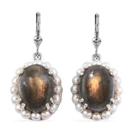 100% Natural Fire Labradorite (Ovl 16x12 mm), Freshwater Pearl Lever Back Earrings in Platinum Overl