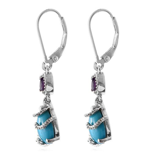 Arizona Sleeping Beauty Turquoise (Pear), Amethyst Lever Back Earrings in Platinum Overlay Sterling Silver 3.050 Ct.