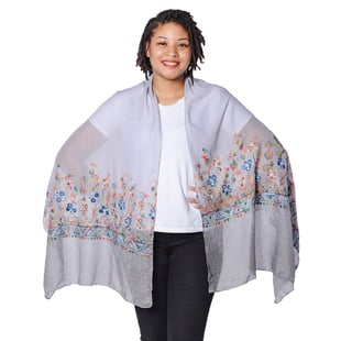 Floral Embroidered Scarf - Grey